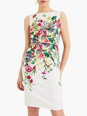 Phase Eight Cilla Floral Print Tailored Dress, Ivory/Multi