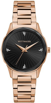 Wittnauer Women's Rosetone Black Dial Diamond Accent Watch