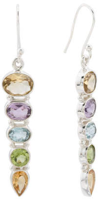 Made In India Sterling Silver Multi Gemstone Linear Earrings