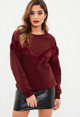 Missguided Burgundy Faux Fur Stripe Sweater
