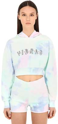 GUESS X J Balvin Vibras Collection Tie Dye Cropped Sweatshirt Hoodie