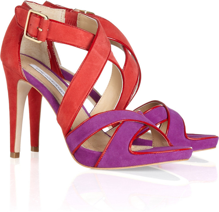 Diane von Furstenberg Jodi color-block suede sandals
