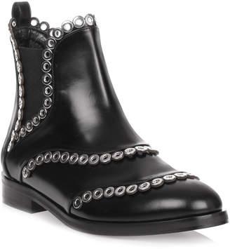 Alaia Black leather eyelet Chelsea boot