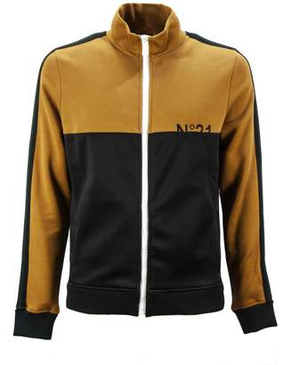 N°21 N.21 Camel And Black Cotton Two-tone Design Track Jacket.
