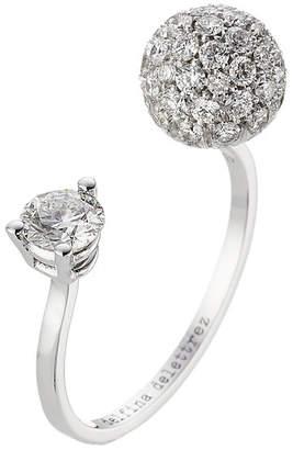 Delfina Delettrez 18kt White Gold Sphere Ring with White Diamonds