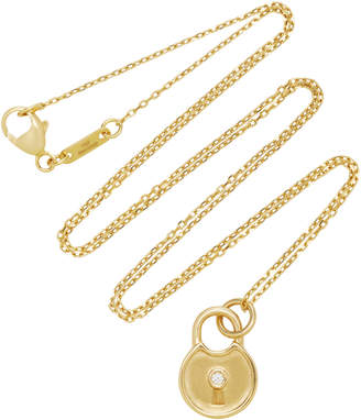 Monica Rich Kosann 18K Gold Diamond Round Lock Charm Necklace