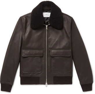 Mr P. Shearling-Trimmed Leather Bomber Jacket