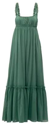 Loup Charmant Sonnet Empire Waist Cotton Maxi Dress - Womens - Green