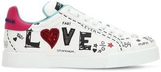 Dolce & Gabbana 20mm Portofino Graffiti Leather Sneakers