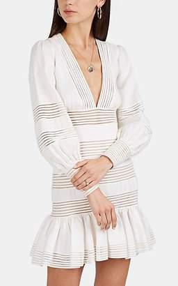 Zimmermann Women's Linear Crochet-Trimmed Linen Dress - White