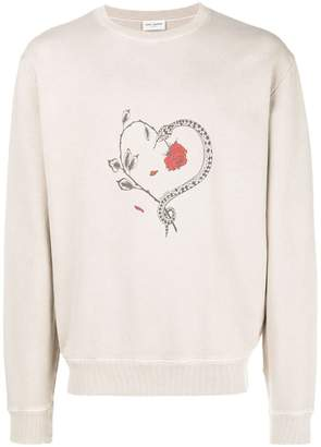 Saint Laurent heart print sweatshirt