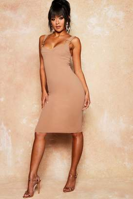 boohoo Gold Ring Cupped Midi Crepe Dress