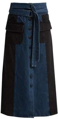Sea Bleu Two Tone Denim Midi Skirt - Womens - Denim
