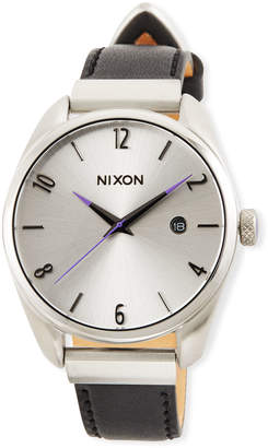 Nixon 38mm Bullet Leather Luxe Watch, Black