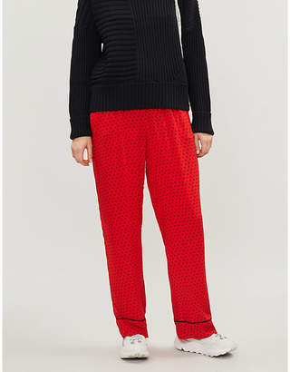 21866f0d8180 Ganni Women s Red Polka Dot Print Mullin High-Rise Wide Georgette Trousers