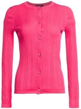 St. John Women's Super Fine Wool& Silk Ribbed Cardigan - Flamingo - Size Large