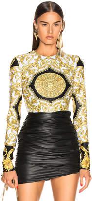 Versace Print Bodysuit in Black & Stampa   FWRD