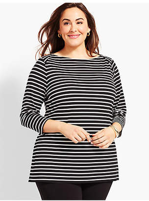 Talbots Plus Size Exclusive Knit Jersey Envelope-Neck Tunic-Derby Stripe