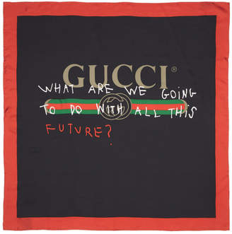 Gucci Black and Red Silk Future Logo Scarf
