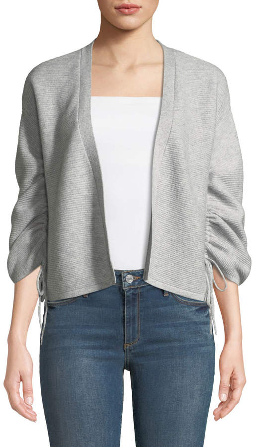 Neiman Marcus Cashmere Gathered-Sleeves Ribbed Cardigan