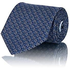 Salvatore Ferragamo Men's Ombré-Turtle-Print Silk Twill Necktie - Blue