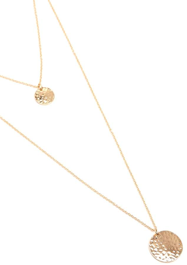 Forever 21 Layered Round Pendant Necklace