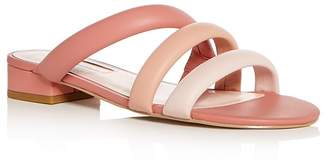 AVEC LES FILLES Women's Carla Leather Color-Block Slide Sandals