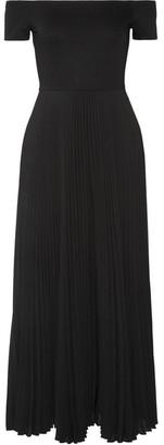 Alice + Olivia Alice Olivia - Ilana Off-the-shoulder Stretch-jersey And Chiffon Dress - Black $535 thestylecure.com