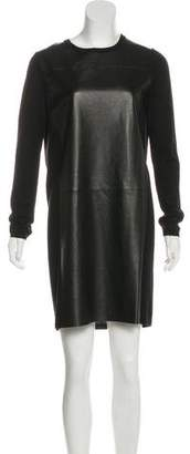 Vince Leather Long Sleeve Dress