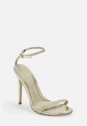 Missguided Gold Plaited Detail Barely There Heels