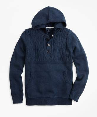 Brooks Brothers Boys Cotton Hooded Henley Sweater