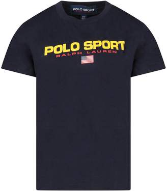 Ralph Lauren Blue Boy T-shirt With Red Logo