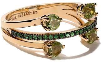 Delfina Delettrez 18kt yellow gold, peridot and tsavorite Linked Dots ring