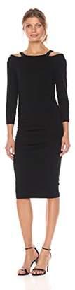 Michael Stars Women's Cotton Lycra Round Neck Dress with Slashed Shoulders