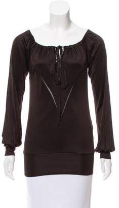 CNC Costume National Long Sleeve Tie-Accented Top