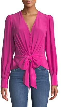 Diane von Furstenberg Julianna Tie-Front Silk Button-Down Top