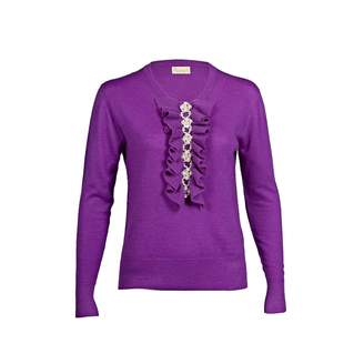 Asneh - Purple Grace Cashmere Sweater with Pearl Embellishment