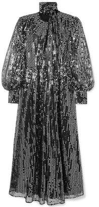 MSGM Sequined Chiffon Maxi Dress - Silver