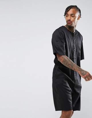 Asos DESIGN Slim Short Jumpsuit With Basketball Collar