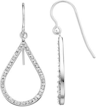 Mystique Diamond Platinum Over Silver Teardrop Earrings