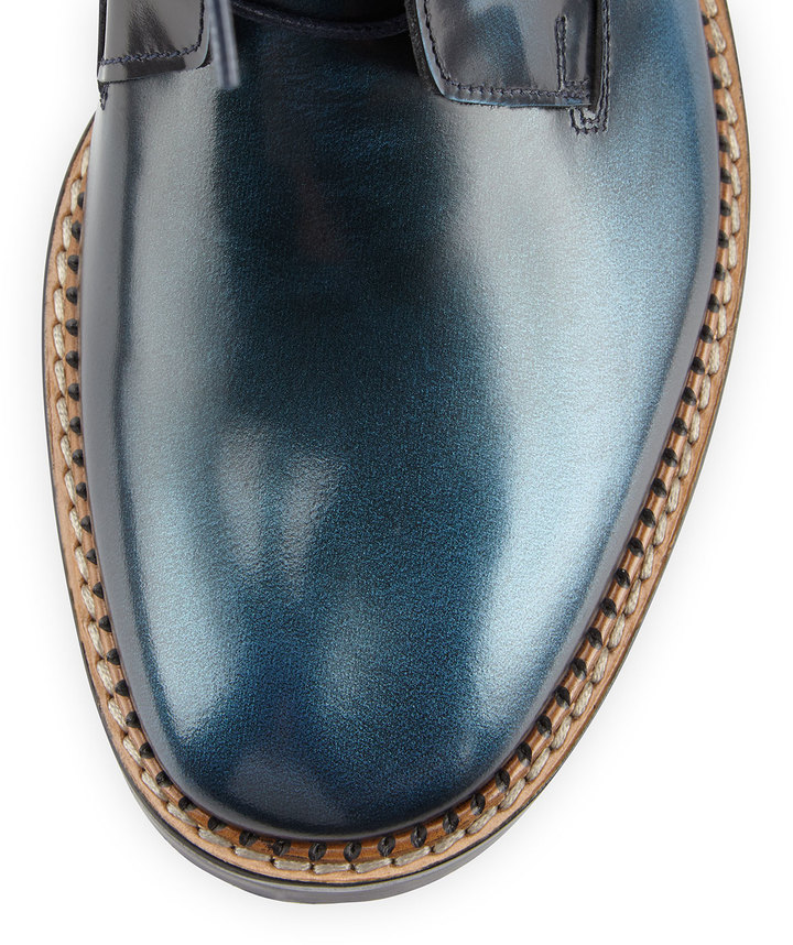 Maison Martin Margiela Brushed Leather Ankle Boot, Blue