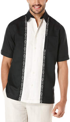 Cubavera Linen Short Sleeve Contrast Tuck Panel With Ornate Embroidery