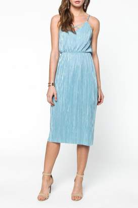Everly Blue Pleated Midi $72 thestylecure.com