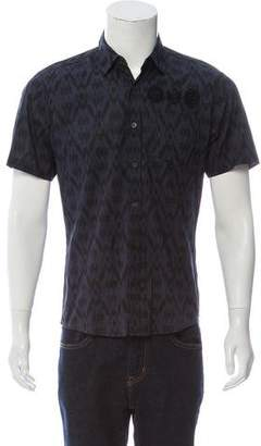 Dries Van Noten Ikat Print Point Collar Button-Up Shirt