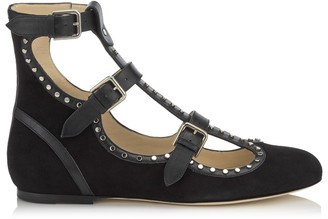 Jimmy Choo HARTLEY FLAT Black Suede and Shiny Leather Round Toe Flats with Studs