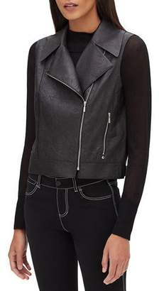 Lafayette 148 New York Stevie Zip-Front Weathered Lambskin Leather Vest