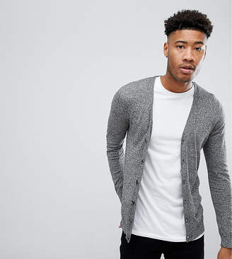 Asos Design TALL Cotton Cardigan In Grey Twist