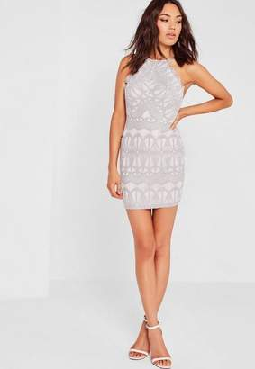 Missguided Lace Strappy Bodycon Dress Gray