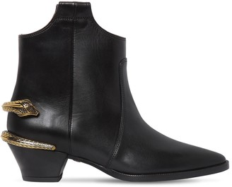 Roberto Cavalli Leather Boots W/ Metal Snake