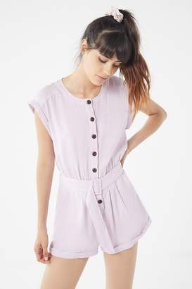 Urban Outfitters Julie Linen Button-Down Romper